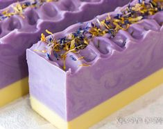Lavender Sunshine Handmade Soap - Bar Soap, Coconut Milk Soap, Cold Process Soap, Vegan Soap, Tall S Handmade Soap Recipes, Handmade Soaps, Lavender Soap, Lavender Ideas, Lavender Buds, Whipped Soap, Vegan Soap, Glycerin Soap, Castile Soap