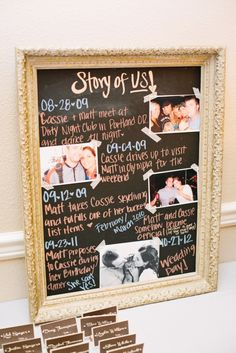 """A """"story of us"""" wedding board"""