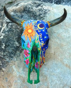 """Hand made painting skull """"Day and night"""""""