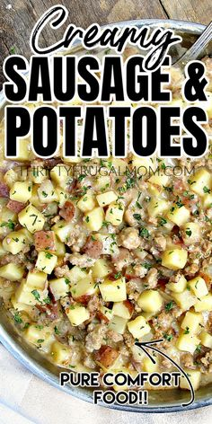 This quick and easy Creamy Ground Sausage and Potato Skillet takes just 30 minutes to make! It combines a few simple ingredients into a tasty dinner that the whole family will love! Ground Pork Sausage Recipes, Sausage Recipes For Dinner, Sausage Crockpot, Ground Sausage, Meat Recipes, Easy Dinner Recipes, Cooking Recipes, Ground Pork Recipes Easy, Carrot Recipes