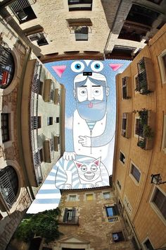 Sky Between Buildings French illustrator Thomas Lamadieu travels the world to photograph the spaces between buildings which he using for his illustrations. Art And Illustration, Art Illustrations, Ciel Art, Street Art, Frame By Frame Animation, Creators Project, Sky Design, Colossal Art, Sky Art