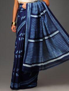 Blue Shibori Cotton Saree #available at jaypore.com #indigo #saree #Shibori #tiedie #Japan #traditional #innovative #handloom #cotton Indian Style, Indian Ethnic, Indian Attire, Indian Wear, Pakistani Outfits, Indian Outfits, Indigo Saree, Shibori Techniques, Modern Saree