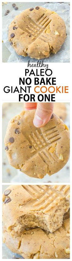 No Bake GIANT Paleo Cookie for ONE recipe- Thick, chewy and so delicious, these single serve cookies are filling, taste like dessert but are SO healthy! {vegan + gluten free} - http://thebigmansworld.com