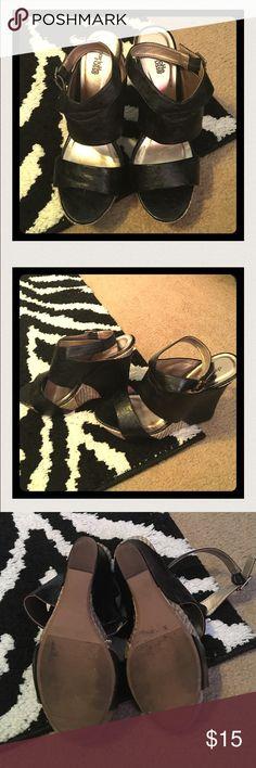 "Charlotte Russe Black & Gold Wedges Charlotte Russe Black & Gold Wedges. In Used Condition. Size 9. Retails: $35 Back Wedge Size: 5"" Front Wedge Size: 1"" Charlotte Russe Shoes Wedges"