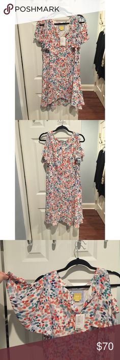 Brand new Anthropologie dress! NWT- sleeves on the dress are pictured.. flowy with a slit so your shoulder will slightly come through. Very flattering and would look great with a boot or sweater this fall! Anthropologie Dresses