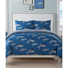 Duck River Textile Blue Chomp Shark Comforter Set (59 CAD) ❤ liked on Polyvore featuring home, bed & bath, bedding and comforters