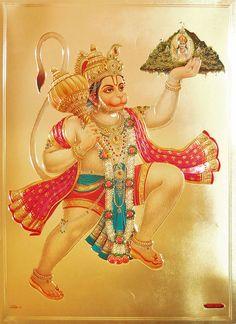 Hanuman Carrying Gandhamadan Parvat - Hindu Posters (Reprint On Metallic Paper - Unframed) Ram Hanuman, Hanuman Photos, Hanuman Images, Hanuman Murti, Shri Ram Wallpaper, Hd Wallpaper, Hanuman Tattoo, Hanuman Ji Wallpapers, Jai Ganesh