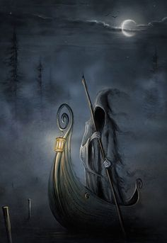 Charon is the ferryman of Hades who carries souls of the newly deceased across the rivers Styx and Acheron that divided the world of the living from the world of the dead. Grim Reaper Art, Don't Fear The Reaper, Fantasy World, Fantasy Art, Art Noir, Angel Of Death, Gothic Art, Dark Gothic, Skull Art