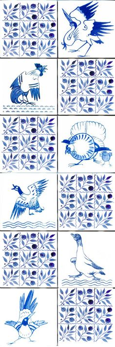 William Morris Tile: William Morris Red House Birds by Philip Webb in blue and white, separated by DeMorgan nine-bough tiles, available in 4.25 and 6 inch