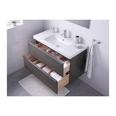 GODMORGON / ODENSVIK Sink cabinet with 2 drawers, high gloss gray high gloss gray 39 3/8x19 1/4x25 1/4