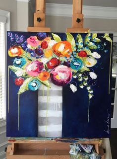 lots of color , but not over powering, I like the bIackground, not real clean lines. Toile Photo, Abstract Flowers, Art Floral, Acrylic Art, Love Art, Painting Inspiration, Diy Art, Art Drawings, Art Projects