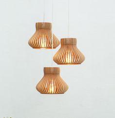 Satz von 3 Holz Hängeleuchten / Lampen Set / Beleuchtung / Küche Lampe / Birchwood Lampe / natural Holz Lampe / Deckenleuchte