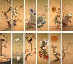 Flowers and Birds of the Twelve Months (Jûnikagetsu Kachô zu, 十二か月花鳥図), pair of Japanese folding screens. Early nineteenth century. Sakai Hōitsu (酒井 抱一, 1761-1828). Etsuko and Joe Price collection.