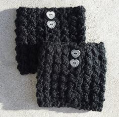 Boot Cuffs Leg Warmers Boot Toppers Boot Socks Black by UtahWraps