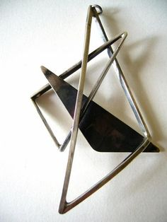 Abstract Modernist Sterling Pendant by Paul Miller