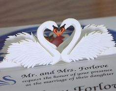 Pop up Swan Wedding invitation Reflect on Special by CardNotions, $4.50
