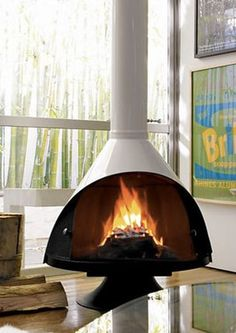 The Zircon Fireplace 34 – Freestanding fireplace wood burning Fireplace Logs, Fireplace Design, Modern Fireplace, Fireplace Ideas, Fireplace Remodel, Hanging Fireplace, Fireplace Makeovers, Small Fireplace, Ral Color Chart