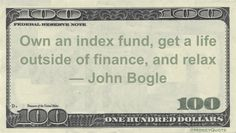 John Bogle Money Quote saying investments shouldn't be actively managed, but rather should be long term