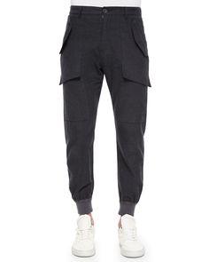 Exposed Pocket Flannel Jogger Pants, Dark Gray, Men's, Size: 31R - Helmut Lang