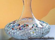 Ideas para el hogar: Decoración florero de vidrio mosaico mosaico de vidrio decoración puede puede alterar completamente el más simple florero y hacer que sea muy bella, original y exclusivo. En este trabajo, jarrones de decoración utilizados cuadrados de mosaico de vidrio, que se pueden comprar en las tiendas