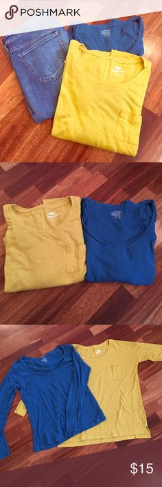 Old navy tops. Size L. Cute long sleeve tops. Yellow is a mustardy hue and has breast pocket, Sean down the back. Marked small, but fits like a large or even XL. Blue is a basic scoop neck. Old Navy Tops Tees - Long Sleeve