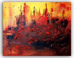 BURGSTALLER ORIGINAL XXL Acryl Bilder Gemälde handgemalt Leinwand Rot Struktur