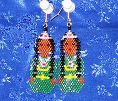 Indian Princess beaded earrings on silvertone by ArtsandCraftsByBo