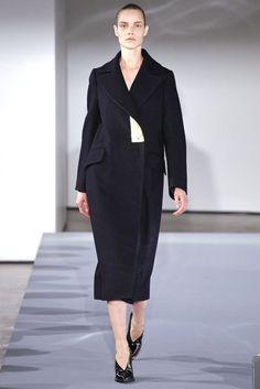 JIL SANDER $3,320 metallic gold foil lapel oversized Palermo wool coat 40-FR NEW #JilSander #Coat #goldlapel #runway #aw13
