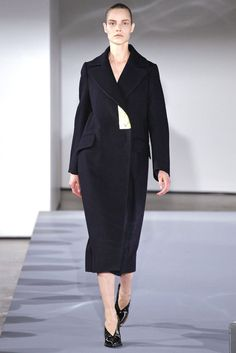 JIL SANDER $3,320 metallic gold foil lapel oversized Palermo wool coat 40-FR NEW #JilSander #Coat #goldlapel #runway #aw13