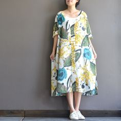 Caual Loose A Line Dress(include inner dress)-Batwing Sleeve Printed Loose Dress Gown-Plus Size Clothing,Bust>130cm