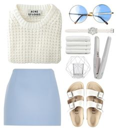 """""""Baby Powder"""" by tina-z ❤ liked on Polyvore featuring Acne Studios, River Island, Birkenstock, Bloomingville, LOFT, Linum Home Textiles, white, Minimalist and knits"""