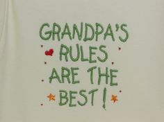 Baby Clothes Grandpa's Rules are the Best embroidered onesie design on a one piece bodysuit (JL014)