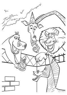 Coloriage d'Alex, Gloria et Melman offrant un gâteau d'anniversaire à Marty