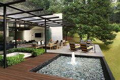 The house consists of two very geometric separate volumes of concrete, one for services and other for the principal areas of the house. The two bodies are jo. Outdoor Rooms, Outdoor Living, Outdoor Decor, Interior Minimalista, Style Minimaliste, Water Features, Beautiful Homes, Minimalism, Pergola