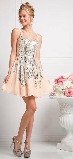 Prom Dresses Homecoming Dresses UNDER $200<BR>addJ745<BR>Sweetheart neckline short dress with the spaghetti straps crisscross in the back, beads and sequins.