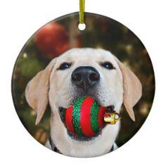 #Yellow lab Christmas ball Ceramic Ornament - #Xmas #ChristmasEve Christmas Eve #Christmas #merry #xmas #family #kids #gifts #holidays #Santa