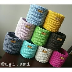 Crochet mini basket....colors                                                                                                                                                     More