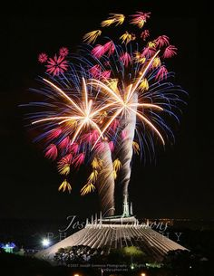Fireworks shoot off behind Walt Disney World's Space Mountain, taken by smtpboy.