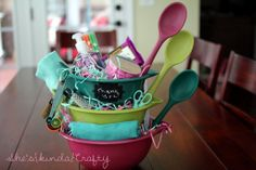 This gift basket made of mixing bowls, filled with knick-knacks makes the perfect hostess, housewarming, or thank you gift.