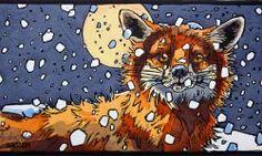 Andrew Haslen - Winterfox - linocut and watercolour Linocut Prints, Art Prints, Block Prints, Fantastic Mr Fox, Fox Illustration, Fox Art, Art For Art Sake, Wildlife Art, Print Artist