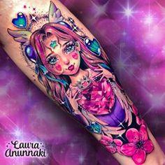 Artemis Tattoo, Laura Anunnaki, Bright Tattoos, Fusion Ink, Chest Piece, I Tattoo, Moon Tattoos, Tattoo Inspiration, Body Art