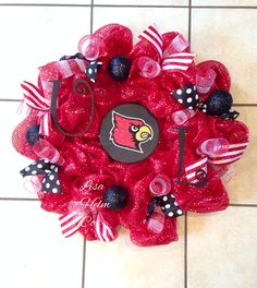 University of Louisville deco mesh red wreath, UL, U of L, cardinals