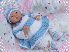 Layered Dress Set 16-22 inch doll/0-3m baby-knitting pattern, baby, doll