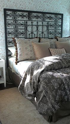 iron grate as headboard