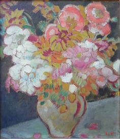 """amare-habeo: """"  Louis Valtat (French, 1869-1952) Vase de fleurs, 1918 Oil on cardboard """""""