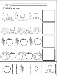 Free Thanksgiving Patterns Cut and Paste worksheet. Cut and paste to finish the Thanksgiving patterns. Color the pictures for extra pizzazz. Get more worksheets from my Harvest Time Packet. Click H…
