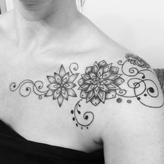 Clavicle collarbone tribal flower tattoo