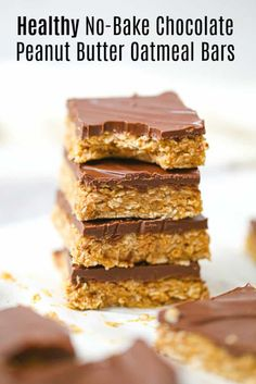 Healthy No-Bake Chocolate Peanut Butter Oatmeal Bars Oatmeal Bars Healthy, No Bake Oatmeal Bars, Peanut Butter Oatmeal Bars, Chocolate Peanut Butter, Oat Bars, Low Calorie Chocolate, Chocolate Oatmeal, Healthy Chocolate, Chocolate Peanuts