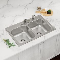 Elkay Drop In 33 In X 22 In Satin Double Equal Bowl 4 Hole Kitchen Sink All In One Kit Lowes Com In 2021 Elkay Sink Kitchen Sink