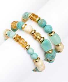 Another great find on #zulily! Turquoise & Bone Beaded Stretch Bracelet Set #zulilyfinds